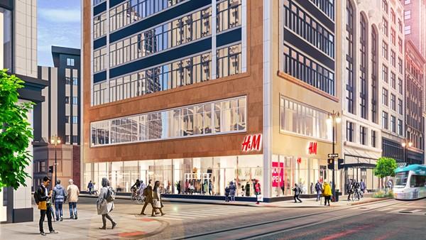 H&M will span three Albert Kahn designed buildings - RENDERING COURTESY BEDROCK