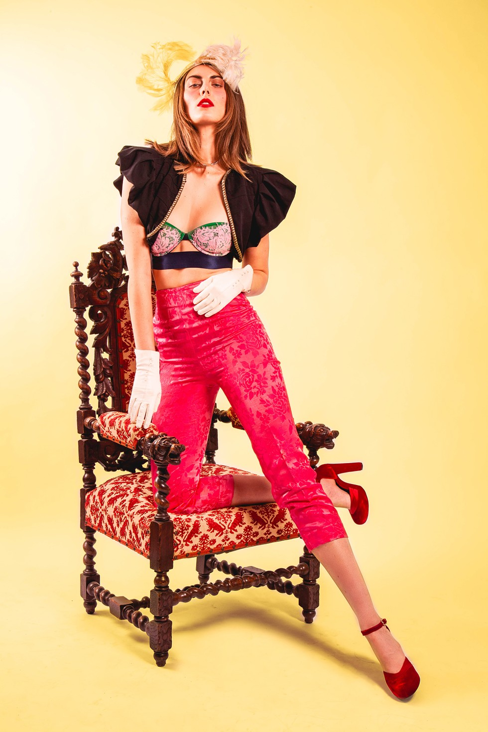 You really got a cuckhold on me: Pernille strapless bra, $81, Super Natural Lingerie, 248-792-7433, supernaturallingerie.com; rose dress pants, $38, Flamingo Vintage, 214-538-5985; cropped over jacket, $52, Shop Minnie Lou, @shopminnielou, 1418 Michigan Ave., Detroit; White leather gloves, $25, white feather hat, $30, The Velvet Tower, thevelvettower.com; crystal choker, $45, Grandma's Gold, - etsy.com/shop/grandmasgoldjewelry; shoes, stylist's own. - MILES MARIE OF NOMADIC MADAM