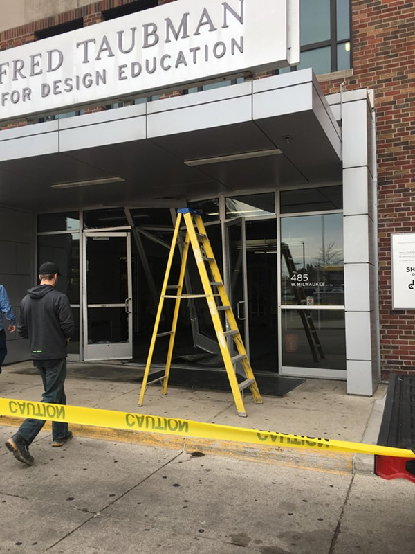 Damage to the east entrance. - MARK HALL