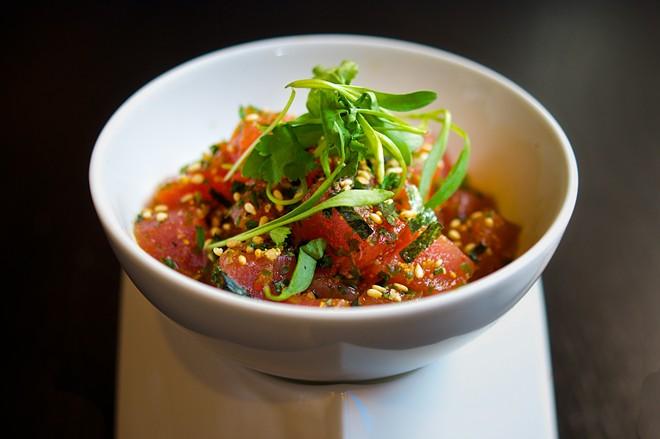 Chef Lloyd Roberts' tuna poke at Adachi. - SCHLOW RESTAURANT GROUP