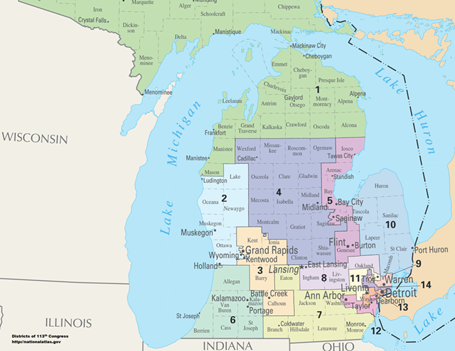 Map of Congressional Districts in the state of Michigan, reflecting district boundaries current to the 113th United States Congress. - DEPARTMENT OF THE INTERIOR - NATIONAL ATLAS OF THE UNITED STATES