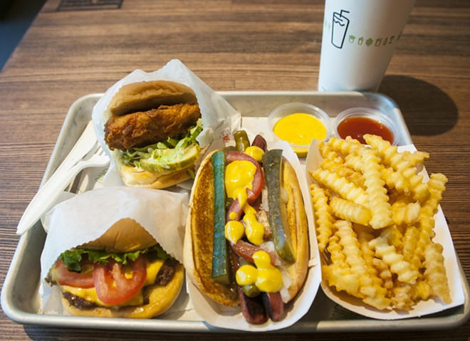 Shackburger, Chick'n Shack, Shack-cago Dog, fries. - TOM PERKINS