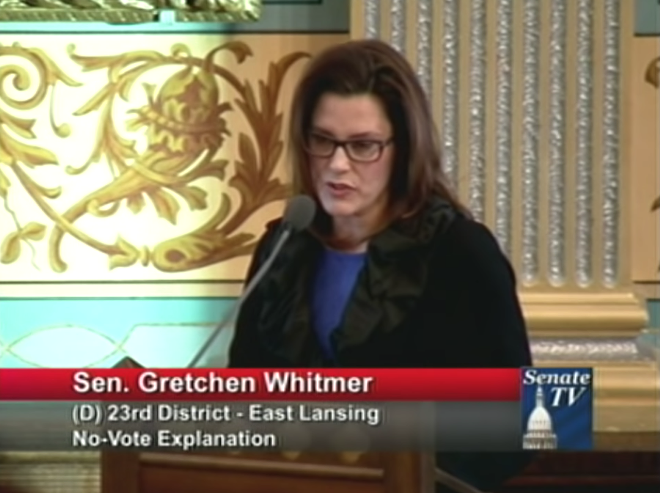 "Whitmer speaking at the Michigan Senate chamber while advocating against a ""rape insurance."" - SCREENGRAB / YOUTUBE"