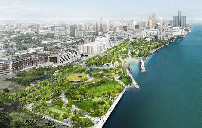 Arial rendering of the 22-acre of the Ralph C. Wilson Jr. Centennial Park. - MICHAEL VAN VALKENBURGH ASSOCIATES