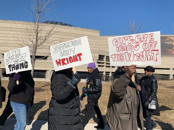 Protesters outside the Charles H. Wright Museum of African American History. - JERILYN JORDAN