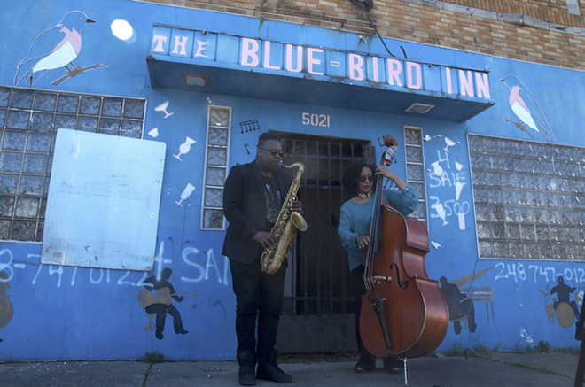 De'Sean Jones and Marion Hayden performing outside of the historic Blue Bird Inn on April 24. - COURTESY OF THE DETROIT SOUND CONSERVANCY