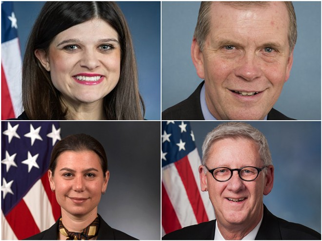Congressional members based in southeast Michigan, clockwise from left: Haley Stevens (D), Tim Walberg (R), Paul Mitchell (R), and Elissa Slotkin (D).