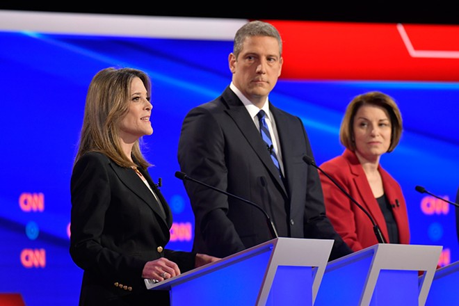 Marianne Williamson puts a hex on America while Tim Ryan and Amy Klobuchar look on. - CNN