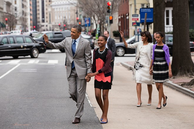 President Barack Obama and First Lady Michelle Obama walk with their daughters Sasha and Malia, right, to attend an Easter service at St. John's Church in Washington, D.C., Sunday, March 31, 2013. (Official White House Photo by Pete Souza) - GPA PHOTO ARCHIVE / FLICKR CREATIVE COMMONS