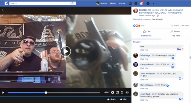 Chris Hill, then leader of the III% Security Force militia network, speaks on Facebook Live in June as Bill Hartwell points a rifle at the camera. - SCREENSHOT FROM THE ROLL CALL FACEBOOK PAGE