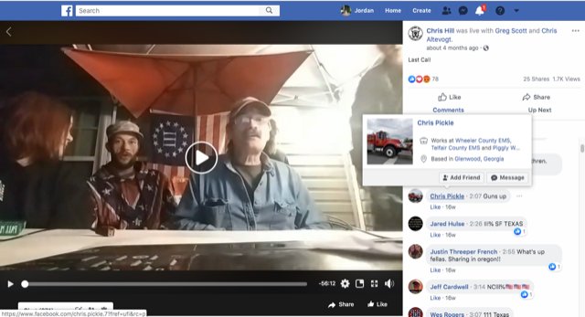 Chris Pickle, an EMT in central Georgia, comments on a Facebook Live video hosted by Chris Hill (not pictured) and other militia leaders in March. - SCREENSHOT FROM THE ROLL CALL FACEBOOK PAGE
