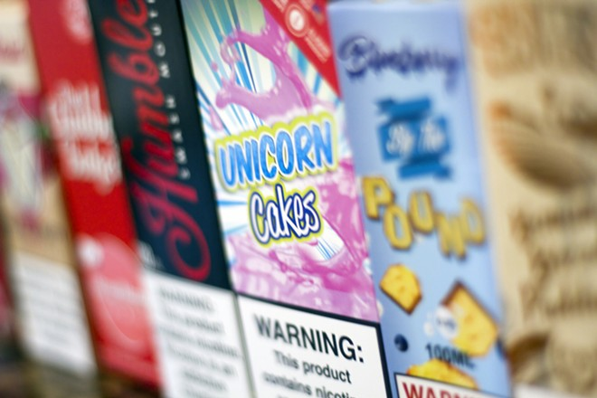 Nicotine vape liquid is banned in Michigan. - BY STEVE NEAVLING