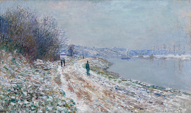 """""""Towpath at Argenteuil, Winter,"""" 1875–76, Claude Monet, French; oil on canvas. - ALBRIGHT-KNOX ART GALLERY, GIFT OF CHARLES CLIFTON"""