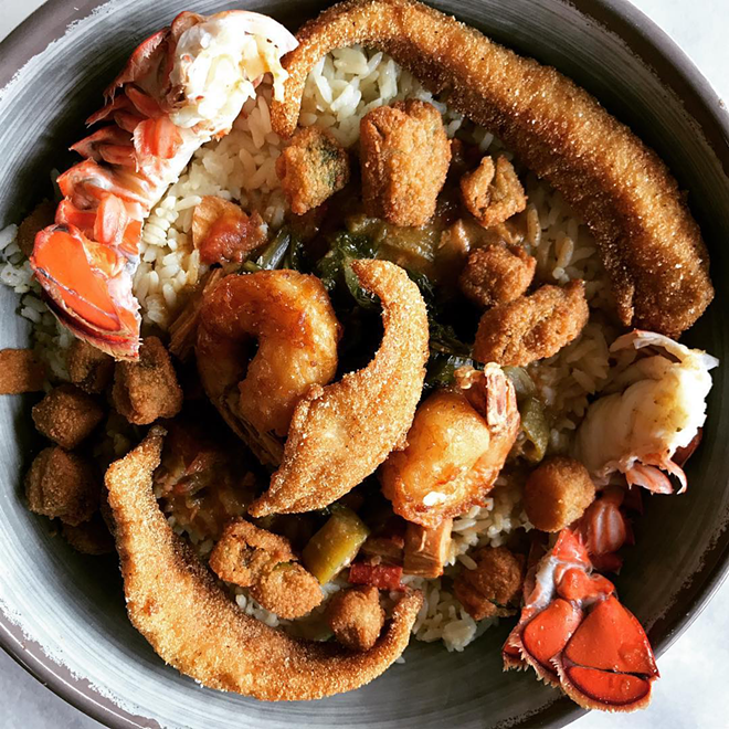 Everything but the Kitchen Sink: Lobster, shrimp, catfish, gumbo, rice, collards, and fried okra. - COURTESY OF BEANS AND CORNBREAD