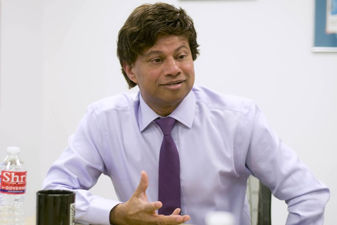 Shri Thanedar at Metro Times' office. - TOM PERKINS