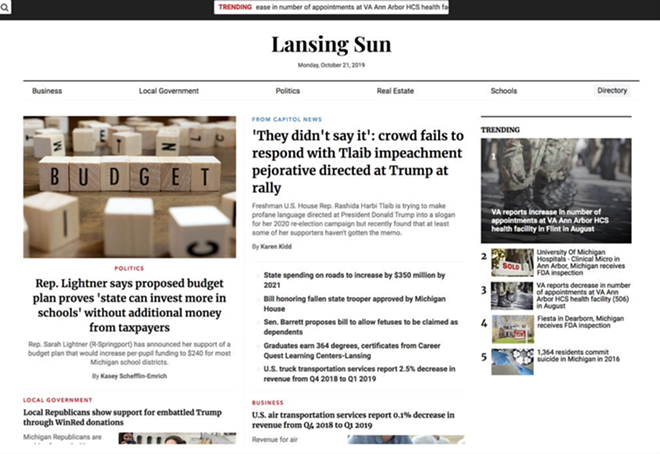 """""""The Lansing Sun"""" is one of nearly 40 websites designed to look like local news sites that have cropped up in recent weeks. The sites have a right-wing bent. - SCREENSHOT"""