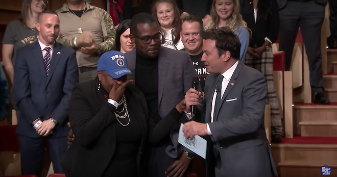 U.S Air Force veteran Vernitta Love, her son Aaron, and Jimmy Fallon. - YOUTUBE / SCREENGRAB