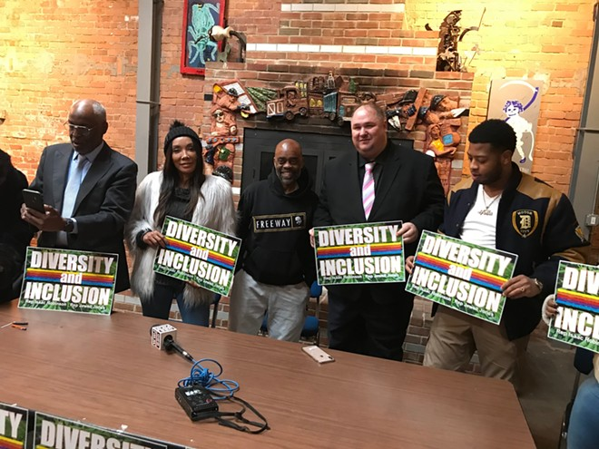 """Cannabis blogger Richard Clement, actress Bonita Money, author """"Freeway"""" Rick Ross, State Rep. Isaac Robinson, and State Rep. Jewell Jones at a recent press conference. - LARRY GABRIEL"""