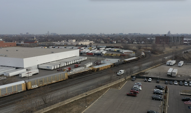 Photo of a derailed train in Southwest Detroit taken from the offices of the Ideal Group. - ALEX SANTORI