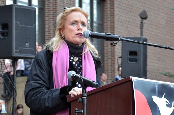 Congresswoman Debbie Dingell addresses the Women's March in Ann Arbor on January 21, 2017. - SUSAN MONTGOMERY, SHUTTERSTOCK