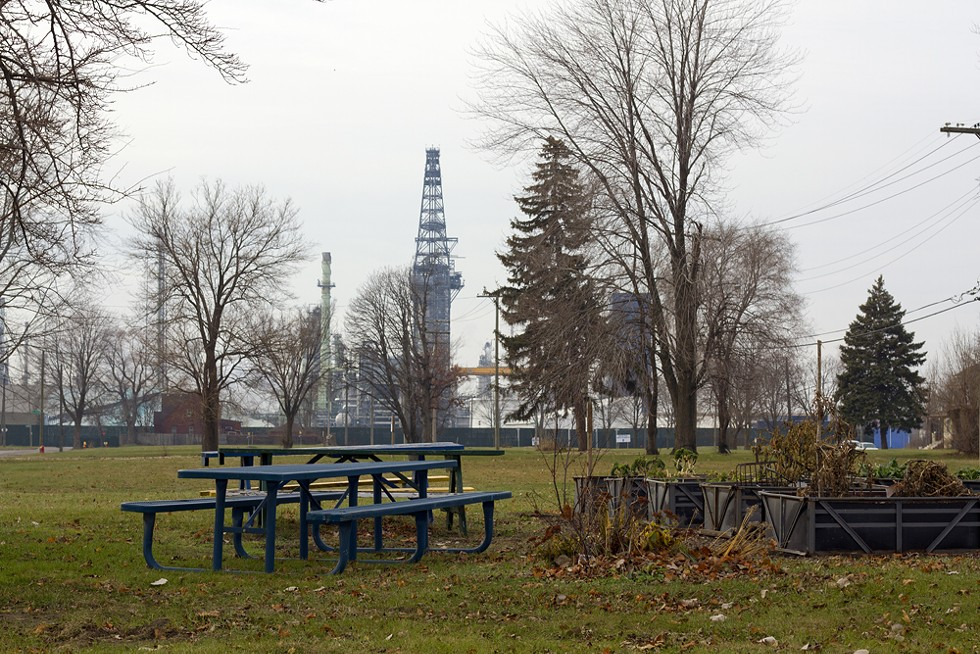 A park in the shadow of Marathon's oil refinery. - STEVE NEAVLING