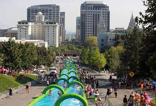 SLIDE THE CITY SETS UP IN SALT LAKE CITY LAST YEAR, PHOTO VIA FACEBOOK
