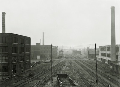 Railroad tracks and idle industry, as seen from the East Grand Boulevard bridge in 1981. - BRUCE HARKNESS