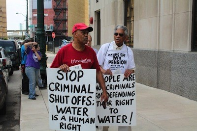 Protesters gathered outside the Detroit Water & Sewerage Department's main office on June 6, 2014. - PHOTO: RYAN FELTON