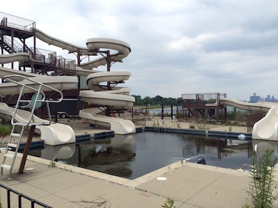 The abandoned water slide, which operated under city control, no longer receives funding. - PHOTO BY TOM PERKINS