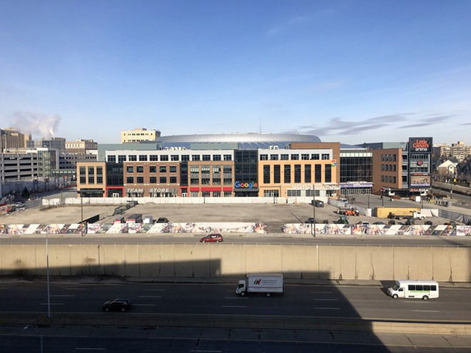 Vacant property on the southern side of Little Caesars Arena. - STEVE NEAVLING