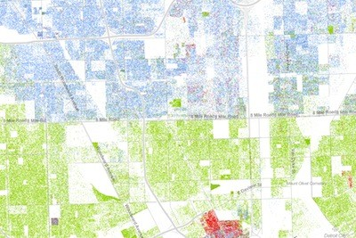 For readers of Wired, this is damning imagery of our region, showing high levels of segregation. - DETAIL SHOWING DETROIT'S BOUNDARIES ON THE RACIAL DOT MAP