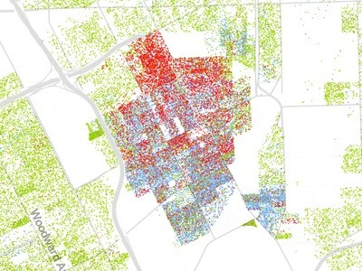 """The racial diversity of Hamtramck is clear in this image. Note Detroit's """"Banglatown"""" district from Hamtramck up to the Davison, as opposed to the African-American neighborhood on the west side of Joseph Campau. Also, note the overwhelming density; if Detroit were as dense as Hamtramck, it would have 1.6 million residents. - DETAIL OF THE RACIAL DOT MAP"""