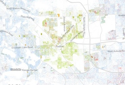 Detroit Junior: Though it's less dense and more diverse, Pontiac is a community of color surrounded by overwhelmingly white suburbs. - DETAIL OF THE RACIAL DOT MAP