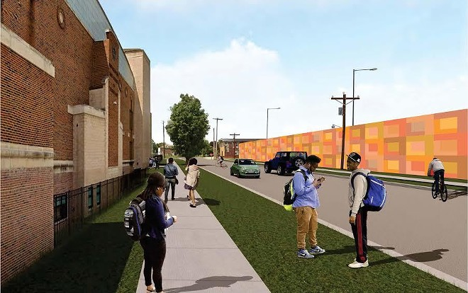 Rendering of the new art installation (right), with Southeastern High School across the street (left). - COURTESY OF CITY OF DETROIT