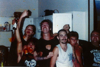 """Young party days: (Left to right) Dougie Toms, Roy Bates, unidentified, Jeff Gunnells, unidentified, and Jay Way, circa 1988. - PHOTO COURTESY MIKE """"THE GOOK"""" COULS, COLD AS LIFE"""