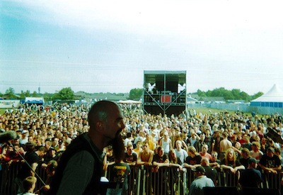 "Taking the stage at Dynamo, an outdoor show in Windoven, Holland, 1999. - PHOTO COURTESY MIKE ""THE GOOK"" COULS, COLD AS LIFE"