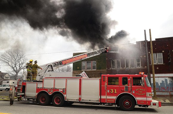 Mack Avenue arson aftermath.