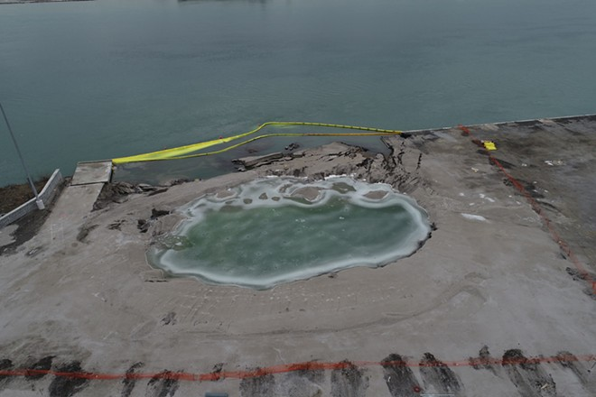 Site of the collapse along the Detroit River. - EGLE
