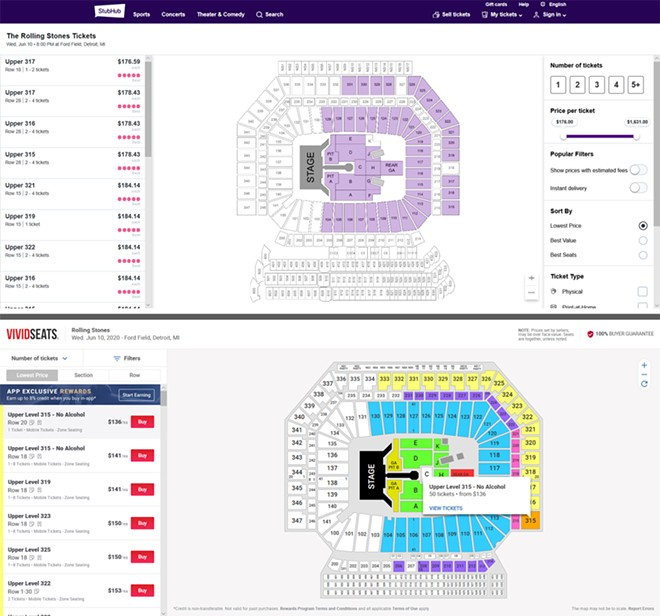 Tickets for the Rolling Stones' upcoming Detroit show were sold on resale sites even though they had not officially been released. - SCREENSHOTS FROM STUBHUB AND VIVIDSEATS