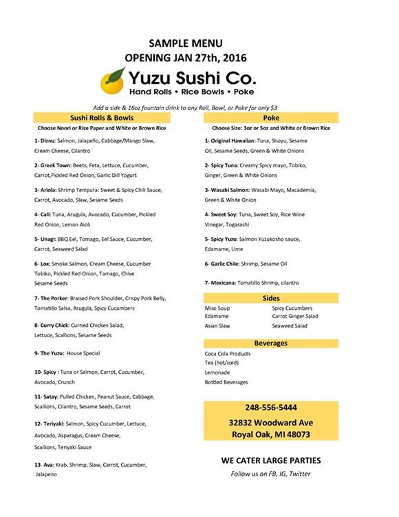 COURTESY OF YUZKI SUSHI CO.