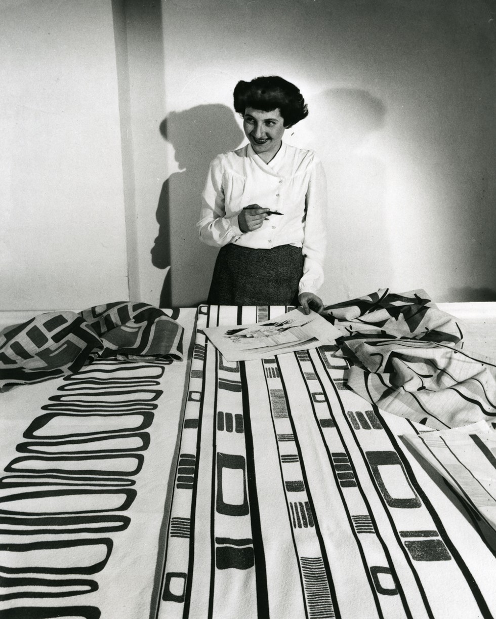 Ruth Adler Schnee working with designs. - COURTESY OF CRANBROOK ART MUSEUM