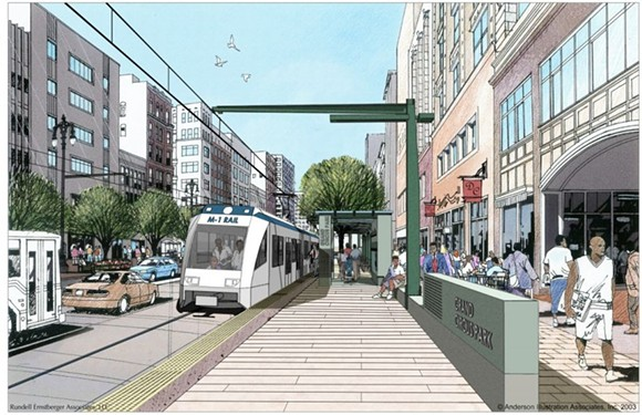 Artistic architectural renderings often idealize a city by presenting it without evidence of the struggles that make cities interesting in the first place. (This rendering was produced for M-1 Rail)