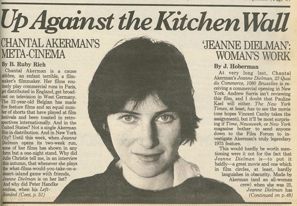 A CLIPPING OF J. HOBERMAN'S 1983 STORY ON CHANTAL AKERMAN'S 'JEANNE DIELMAN' FROM THE VILLAGE VOICE