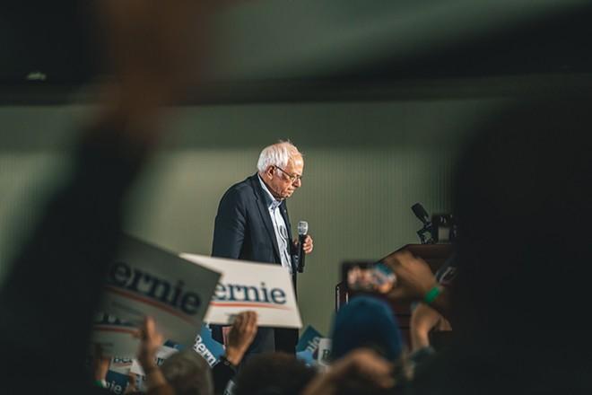 Sen. Bernie Sanders at a Detroit rally. - JOHN SIPPEL