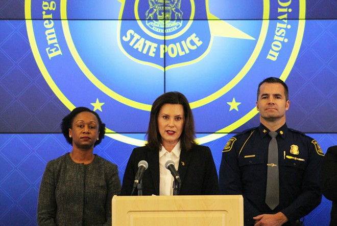 Gov. Gretchen Whitmer (center) holds a press conference about the coronavirus. - STATE OF MICHIGAN