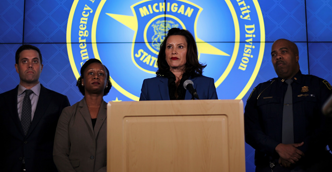 Gov. Gretchen Whitmer during a recent press conference on the coronavirus. - STATE OF MICHIGAN
