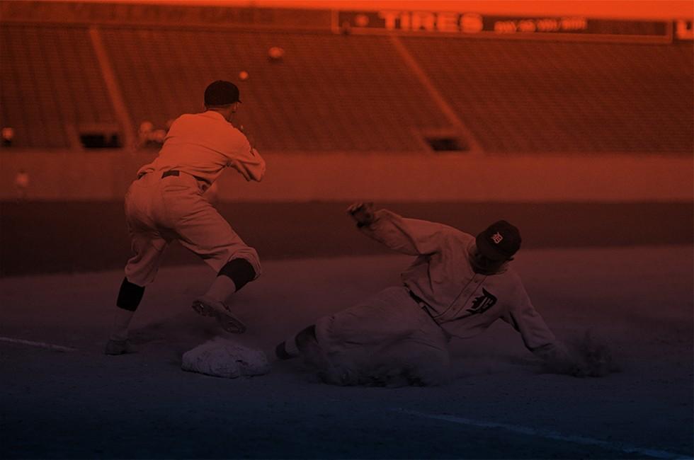 Cobb slides into third base for a triple against the Washington Senators at Griffith Stadium, Aug. 16, 1924. - LIBRARY OF CONGRESS, PUBLIC DOMAIN