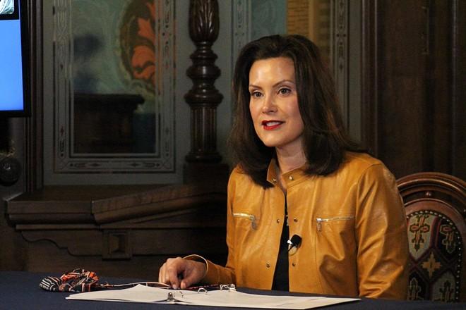 Gov. Gretchen Whitmer at a press conference. - STATE OF MICHIGAN