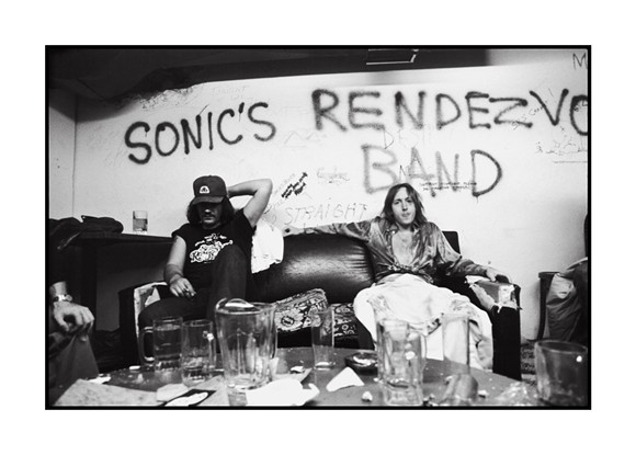 "Scott ""Rock Action"" Asheton and Scott Morgan of Sonic's Rendezvous Band, backstage at the Second Chance, Ann Arbor, Michigan on August 26, 1977. Photo by Sue Rynski and courtesy of Sensitive Skin."