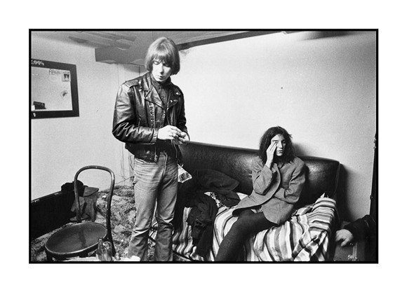 "Fred ""Sonic"" Smith and Patti Smith backstage at the Second Chance in Ann Arbor, Michigan on February 8, 1978. The occasion was a gig shared by Sonic's Rendezvous Band and the Patti Smith Group. Patti Smith later married Fred ""Sonic"" Smith. ""Sonic"" Smith was formerly a guitarist with the MC5. Photo by Sue Rynski and courtesy of Sensitive Skin."